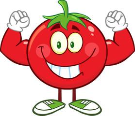 Strong Tomato Cartoon Mascot Character Flexing