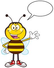 Happy Bee Cartoon Mascot Character Waving With Speech Bubble
