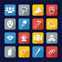 Demonstration Or Protest Icons Flat Design