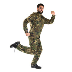 Soldier running fast over white background