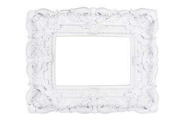 White carved picture frame isolated with clipping path