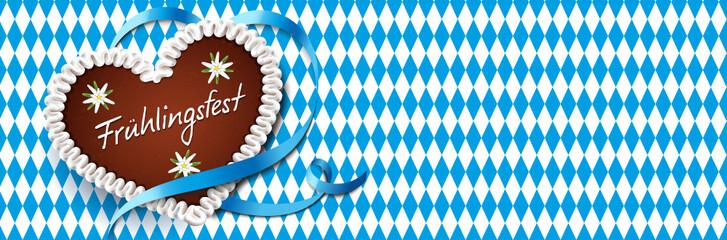 Lebkuchenherz mit Schleife und Rauten - Frühlingsfest
