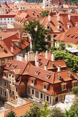 traditional red roofs in Prague Old Town