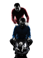 homosexuals  parents men family with baby silhouette