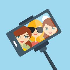 Selfie set photo illustration.