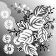 Black and white floral background with leaves and flowers