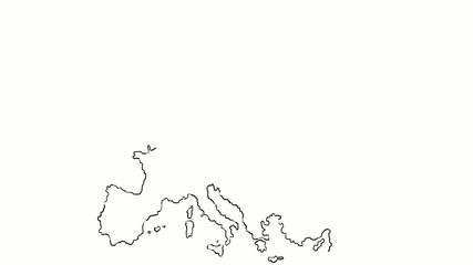 europe map hand draw