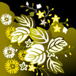 Black and yellow floral background with leaves and flowers