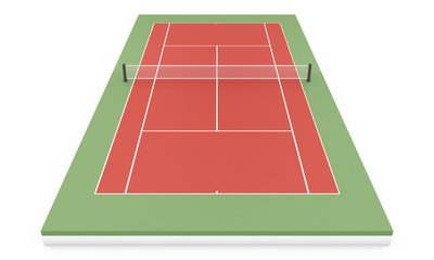 3d illustration tennis court