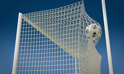 Football ball flies into the net gate close-up