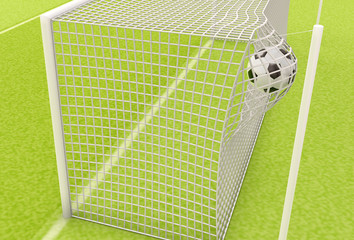 Football ball flies into the net gate