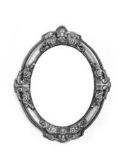 oval metal gray frame isolated on a white background