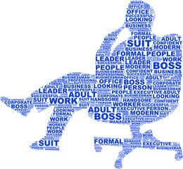 tag cloud vettoriale a forma di boss seduto