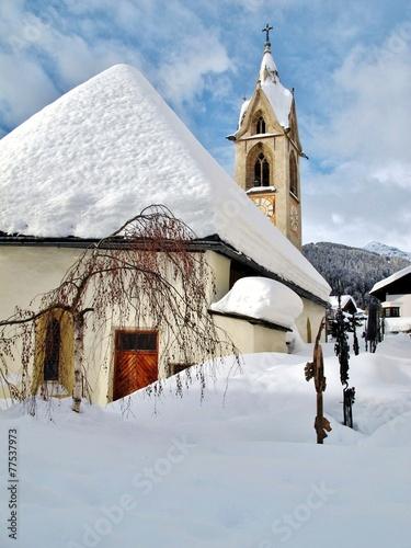 Leinwanddruck Bild Kirche in Serfaus, Tirol