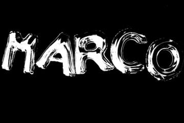 Nome Marco fatto con palloncini argentati ed effetto soglia