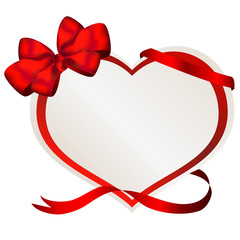 valentine paper heart with red bow and ribbon