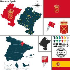 Map of Navarre, Spain