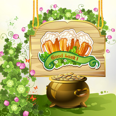 Wood banner with clover, beer and pot of coins