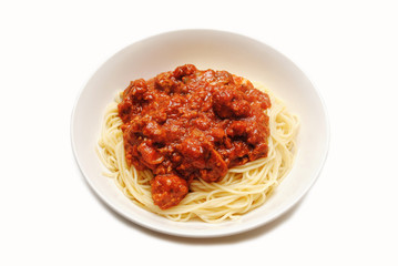 Angel Hair Pasta Served with Bolognese Sauce