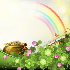 Saint Patrick's Day illustration with pot of coins