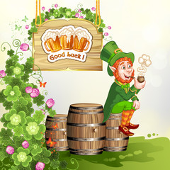 Leprechaun sitting on barrels and holding a pipe