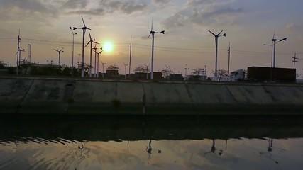 Stock Video Footage Timelapse Cargo Wind turbine Car Trailer