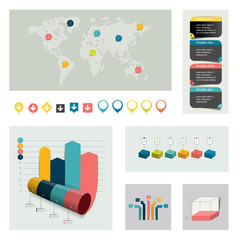 Set of flat infographic elements.