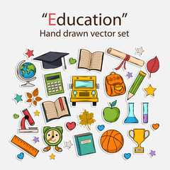Education hand drawn set