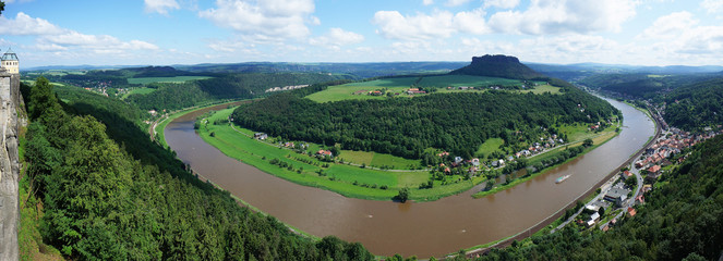 View from fort Königstein in Saxon Switzerland