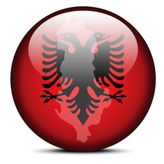 Map on flag button of Republic of Albania