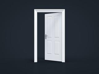opened door on black background