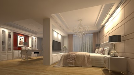 3d hotel bedroom design