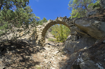 Small aqueduct in the Crimean mountains.