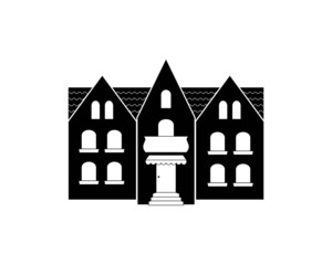 black silhouette of a European-style mansion. Isolated