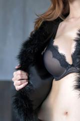 Black bra sexy on woman
