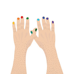 Two mainly hands with nails painted the color of the rainbow