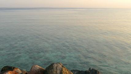 landscape with calm sea at dawn