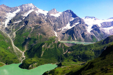 bergsee see berge schnee alpen bilderbuch landschaft