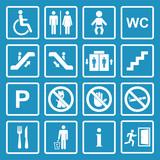 Vector white public icons set poster