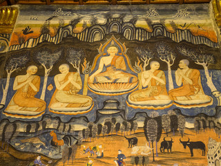 Thai art mural in main church of Wat Phu Mintr