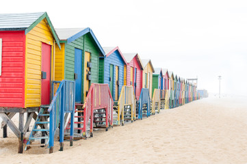 Multi-colored beach huts at Muizenberg