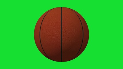 Highly detailed 3D Basketball rotating on chroma key background¡