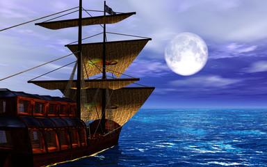 bateau sous la lune