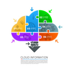 Cloud data with icons puzzle