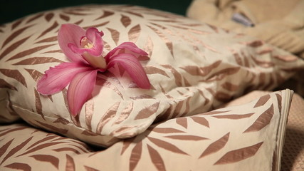 Close up shot of pillow with flower on it