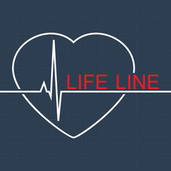 Vector life line and pulse in heart