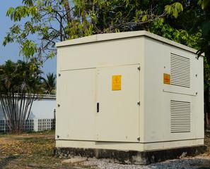 High voltage cabinet gray set on a platform cement.