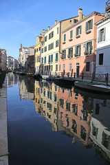 reflection on the water of the colorful houses of Venice