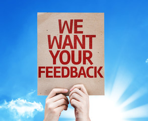 We Want Your Feedback card with sky background