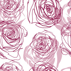 Vector seamless floral pattern with roses  abstract